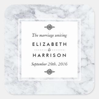 Elegant Vintage Marble Wedding Favour Square Sticker