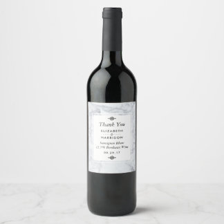 Elegant Vintage Marble Wedding Wine Label