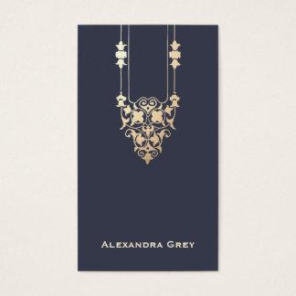 Elegant Vintage Navy Blue and Gold Designer Business Card