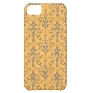 Elegant Vintage Orange Gray Damask Floral Pattern iPhone 5C Case