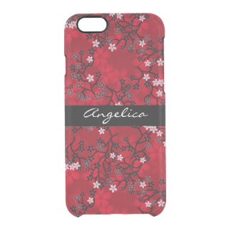 Elegant Vintage Oriental Red Floral Personalized Uncommon Clearly™ Deflector iPhone 6 Case