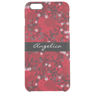 Elegant Vintage Oriental Red Floral Personalized Uncommon Clearly™ Deflector iPhone 6 Plus Case
