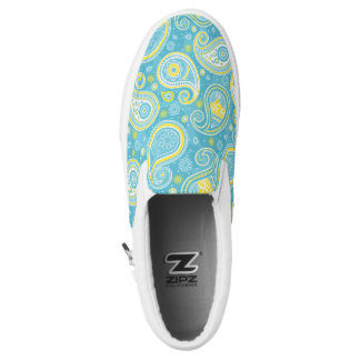 Elegant vintage paisley pattern blue and yellow Slip-On shoes