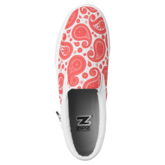 Elegant vintage paisley pattern coral slip on shoes
