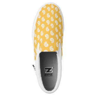 Elegant vintage paisley pattern yellow and white Slip-On shoes