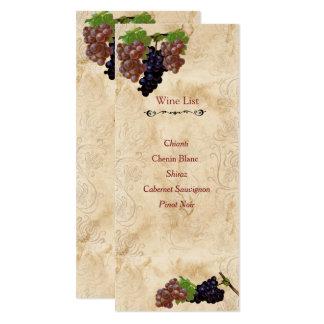 Elegant, Vintage Paper, Custom Wine List Card