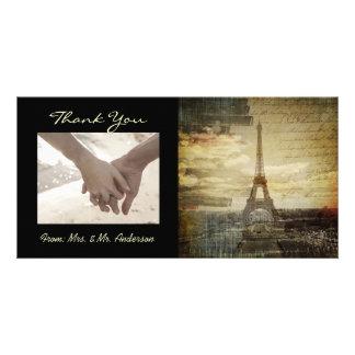 elegant  vintage paris wedding thank you photo card template