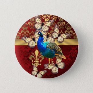 Elegant vintage peacock and red  damask 6 cm round badge