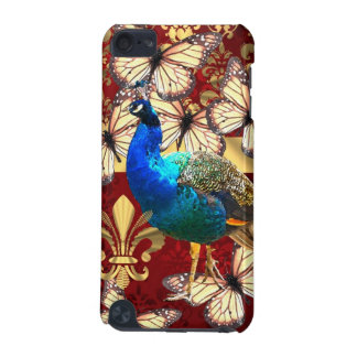 Elegant vintage peacock and red  damask iPod touch 5G cover