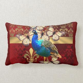 Elegant vintage peacock and red  damask lumbar pillow
