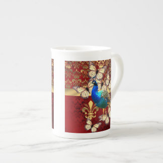 Elegant vintage peacock and red  damask tea cup
