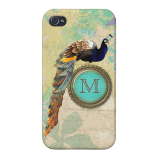 Elegant Vintage Peacock Monogram Case For The iPhone 4