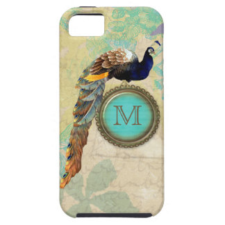 Elegant Vintage Peacock Monogram iPhone 5 Cases