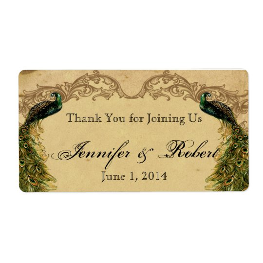 Elegant Vintage Peacock Posh Water Bottle Label