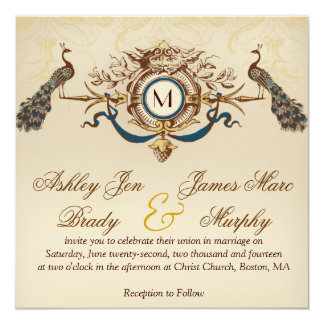 Elegant Vintage Peacock Square Wedding Invitations