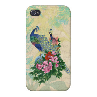 Elegant Vintage Peacocks Collage iPhone 4/4S Covers
