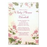 """Elegant Vintage Pink Blossom Floral Baby Shower 5"""" X 7"""" Invitation Card"""
