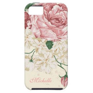Elegant Vintage Pink Floral Pattern iPhone 5 Cases