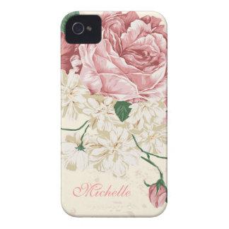 Elegant Vintage Pink Floral Pattern Case-Mate iPhone 4 Case