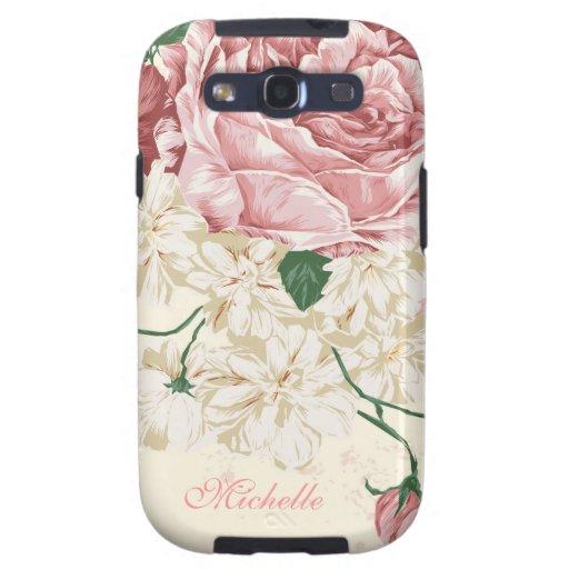 Elegant Vintage Pink Floral Pattern Galaxy SIII Cover