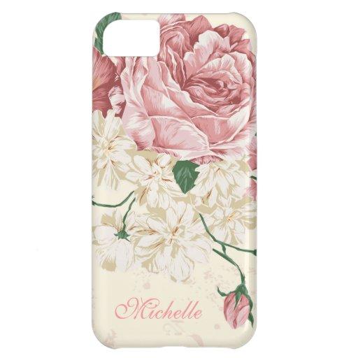 Elegant Vintage Pink Floral Pattern iPhone 5C Covers
