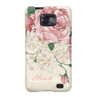 Elegant Vintage Pink Floral Pattern Samsung Galaxy SII Covers