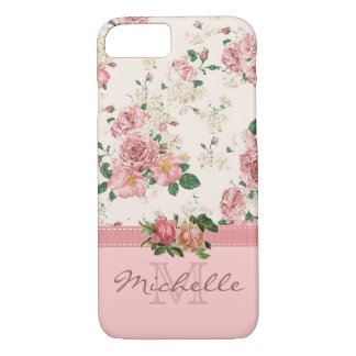 Elegant Vintage Pink Floral Rose Monogram Name iPhone 7 Case