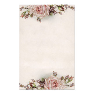 Elegant Vintage Pink Rose Stationery