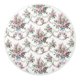 Elegant Vintage Pink Roses and Swags Ceramic Knob