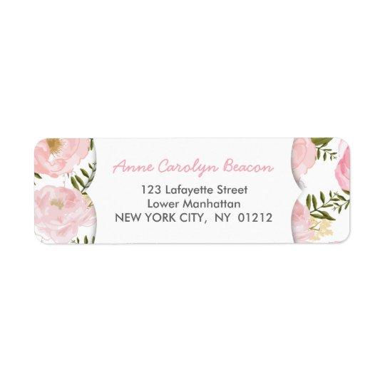 Elegant Vintage Pink Roses Return Address Label