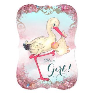 Elegant Vintage Pink Stork Baby Shower Announcements