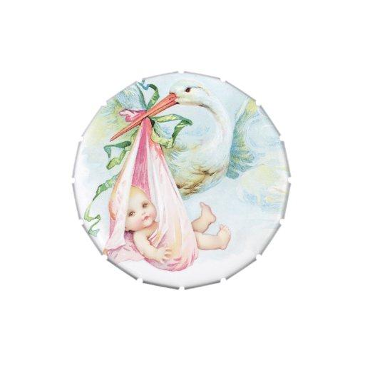 Elegant Vintage Pink Stork Baby Shower Mints Jelly Belly Candy Tin
