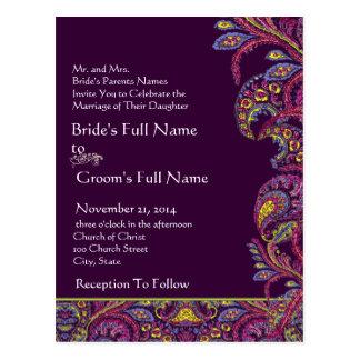 Elegant Vintage Plum Paisley Wedding Invitation Postcard