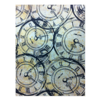 Elegant Vintage Pocket Watches Pattern Postcard