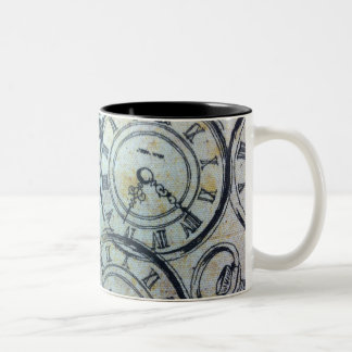 Elegant Vintage Pocket Watches Pattern Two-Tone Coffee Mug