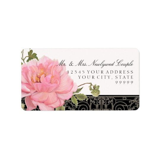 Elegant Vintage Pretty Peony Flower Art Typography Label