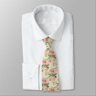 Elegant Vintage Pretty Pink Floral Roses Pattern Tie