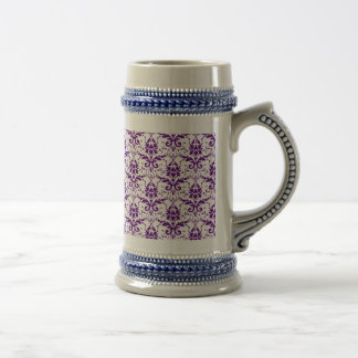 Elegant Vintage Purple and White Damask Pattern Beer Stein