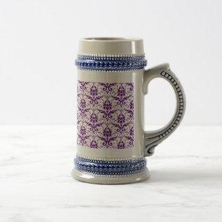 Elegant Vintage Purple and White Damask Pattern Beer Steins