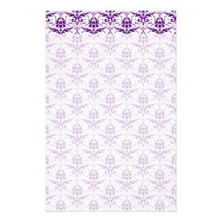 Elegant Vintage Purple and White Damask Pattern Custom Stationery