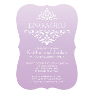 Elegant Vintage Purple Flourish Engagement Party Card