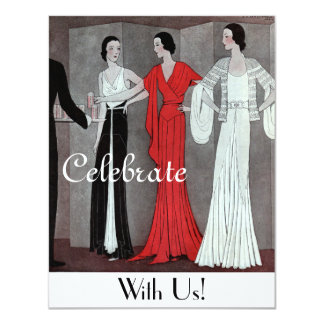 Elegant Vintage Retro Art Deco Party 11 Cm X 14 Cm Invitation Card