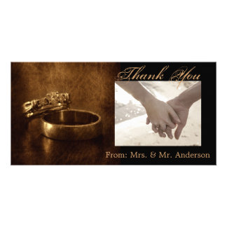 elegant vintage  rings leather wedding thank you photo cards