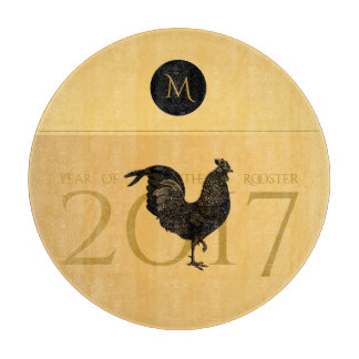 Elegant Vintage Rooster Year 2017 Cutting Board