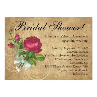 "Elegant Vintage Rose Bridal Shower Invitation 5"" X 7"" Invitation Card"