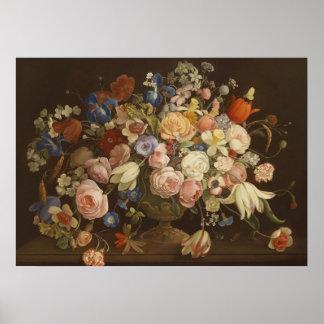 Elegant Vintage Rose Floral Painting, Anton Muller Poster