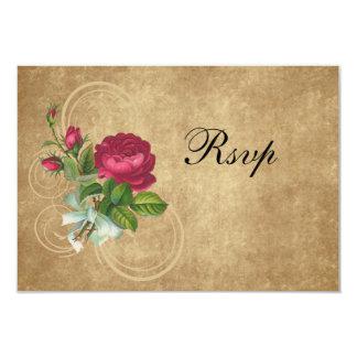 "Elegant Vintage Rose, Magenta/Brown 3.5"" X 5"" Invitation Card"