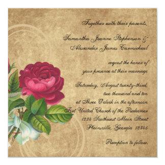 "Elegant Vintage Rose, Magenta/Brown 5.25"" Square Invitation Card"