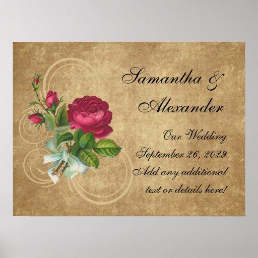 Elegant Vintage Rose, Magenta/Brown Poster