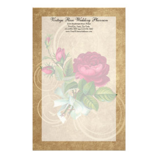Elegant Vintage Rose, Magenta/Brown Stationery